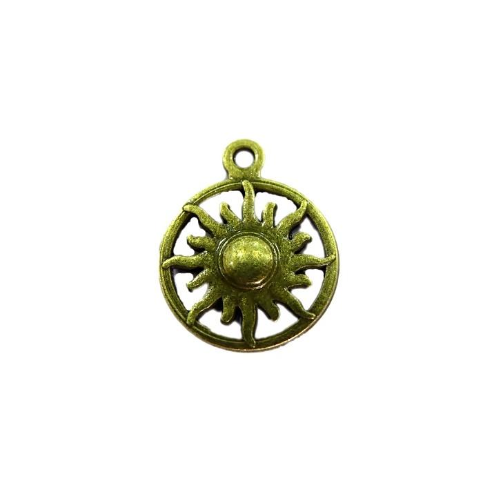 Pingente Medalha/ Sol ouro velho (10 unidades)- PTO040