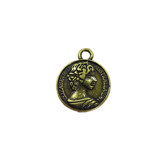 Pingente Medalha Elizabeth II ouro velho - PTO072