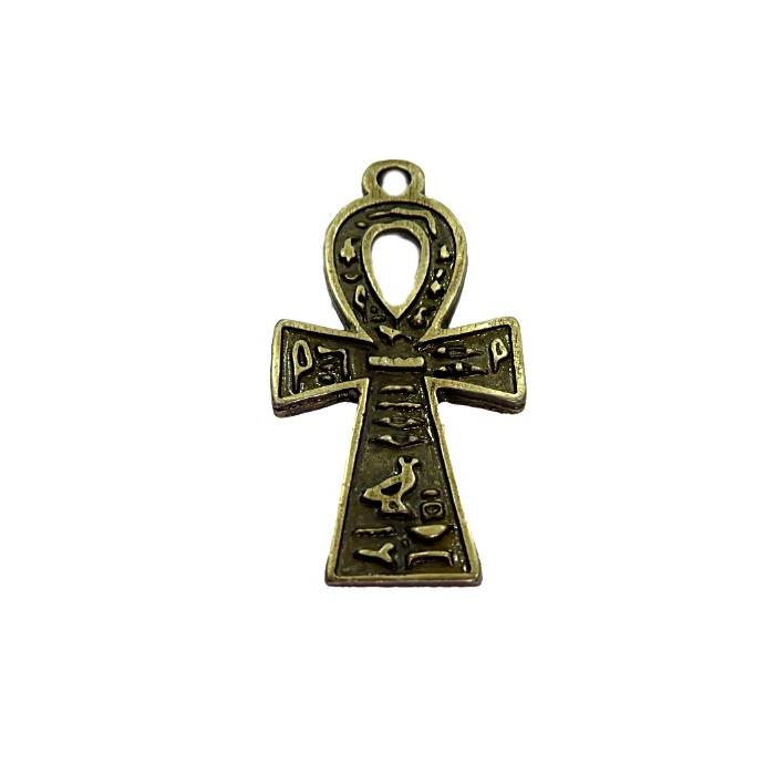 Pingente Cruz Egipcia Ouro Velho, Niquel Envelhecida e Dourada - PGT013