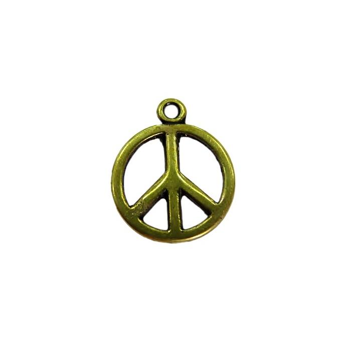 Pingente Paz e amor médio ouro velho - PTO062