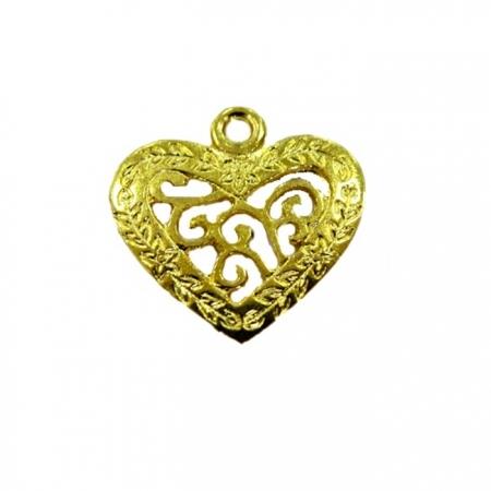 Pingente Coração Dourado Vazado Trabalhado- PTD047