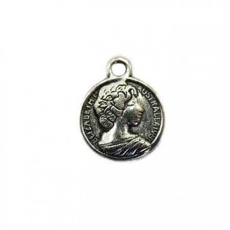 Pingente Medalha Elizabeth II níquel envelhecido - PTN067