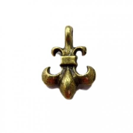 Pingente Flor de liz pequena ouro velho (10 unidades)- PTO017