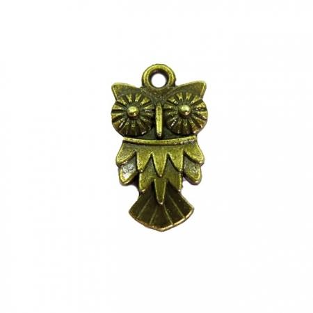 Pingente Coruja I ouro velho- 10 PEÇAS-PTO022