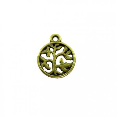Pingente Medalha arvore da vida vazada ouro velho (01 unidades)- PTO039