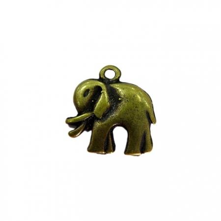 Pingente Elefante médio ouro velho - PTO049