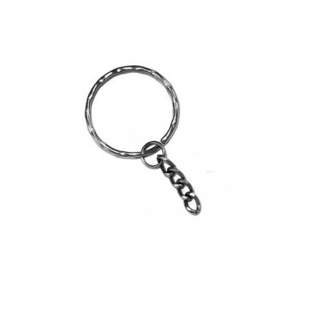 Argola de chaveiro trab. níquel c/ corrente (20 unidades)- ARN002