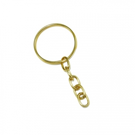 Argola de chaveiro dourada com corrente (20 unidades)- ARD001