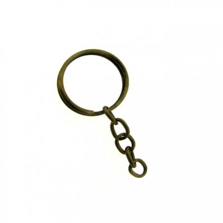 Argola de chaveiro ouro velho c/ corrente (20 unidades)- ARO001