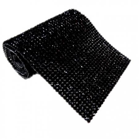 Manta de strass preta 45x10cm - MS004