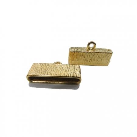 Terminal de colagem achatado dourado riscado (02 unid.)- TCD014