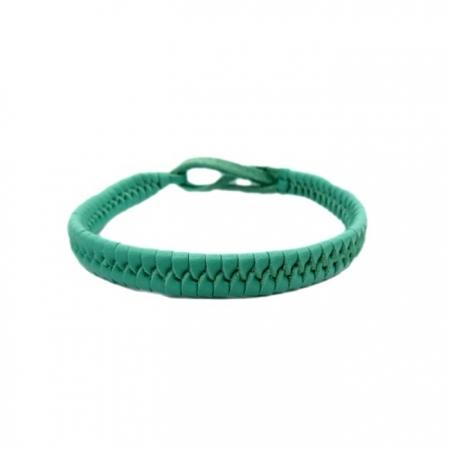 Pulseira couro trançado verde piscina- PUL013