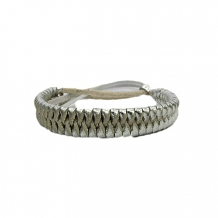 Pulseira de couro trançado prata- PUL014