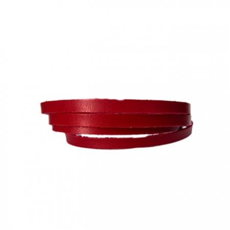Couro achatado liso vermelho 5mm- COU007