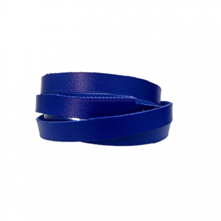 Couro achatado liso fino azul bic 1cm- COU013