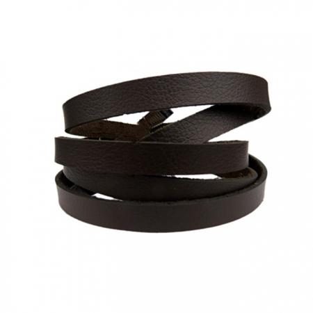 Couro achatado liso grosso chocolate 1cm- COU019