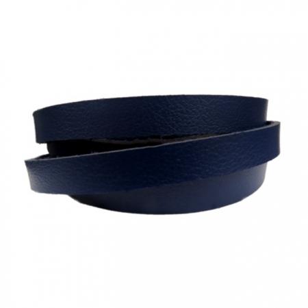 Couro achatado liso azul marinho 1,5cm- COU024