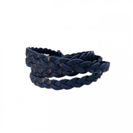 Couro trançado achatado azul marinho- CT008