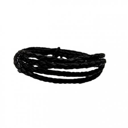 Couro trançado preto 3mm (50 fios)- CTR005 ATACADO