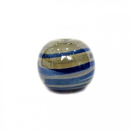 Bola de murano GG azulão/ branco irisado- MU010