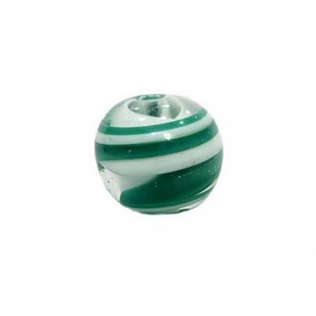 Bola de murano GG branco/ verde- MU013