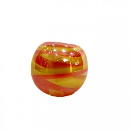 Bola de murano GG laranja/ amarelo irisado- MU015