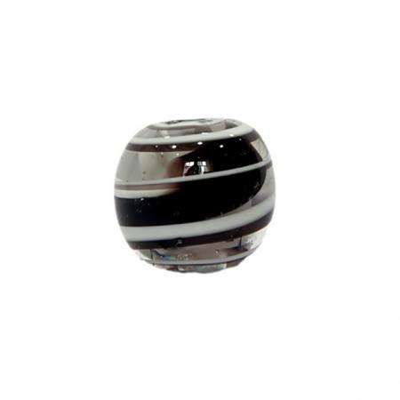 Bola de murano GG preto/ branco- MU021