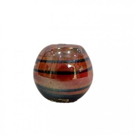 Bola de murano GG salmão/ preto irisado- MU022