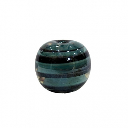 Bola de murano GG turquesa/ preto irisado- MU031