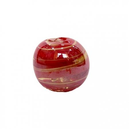 Bola de murano GG vermelho/ branco irisado- MU037