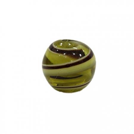 Bola de murano G  ambar/ branco/ marrom- MU042