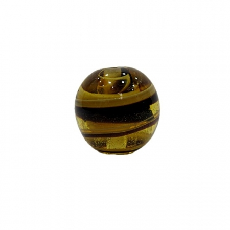 Bola de murano G ambar/ preto- MU043