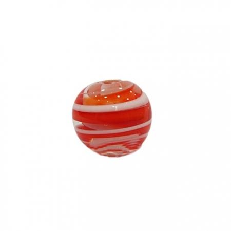 Bola de murano G  laranja/ branco- MU057