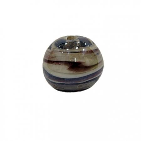 Bola de murano G  preto/ branco irisado- MU065