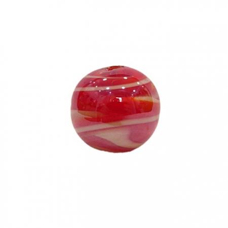 Bola de murano G vermelho/ branco irisado- MU081