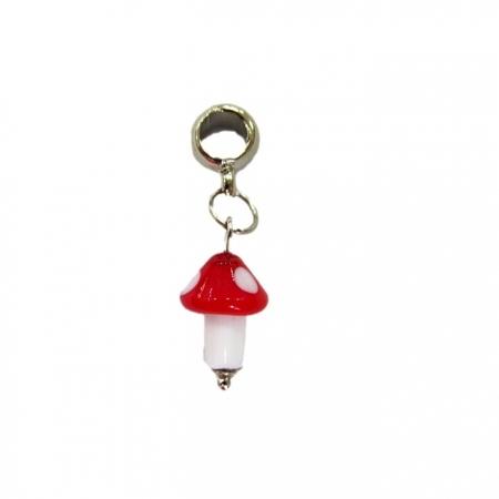 Berloque pingente níquel cogumelo de murano vermelho- BEN123