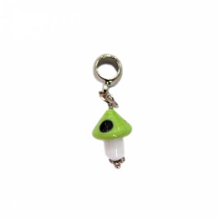 Berloque pingente níquel cogumelo de murano verde claro- BEN160