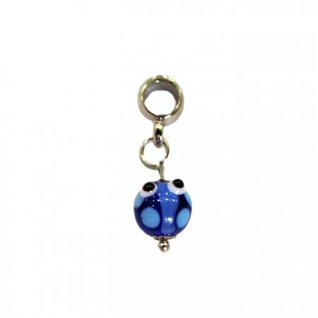 Berloque pingente níquel joaninha de murano azulão- BEN163