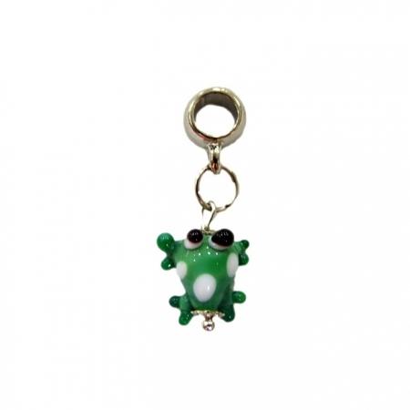 Berloque pingente níquel sapinho de murano verde- BEN169