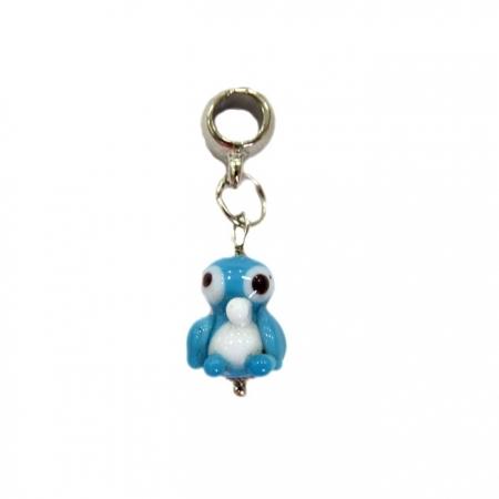Berloque pingente níquel pinguim de murano azul turquesa- BEN173