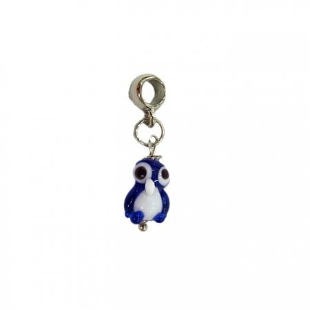 Berloque pingente níquel pinguim de murano azulão- BEN174