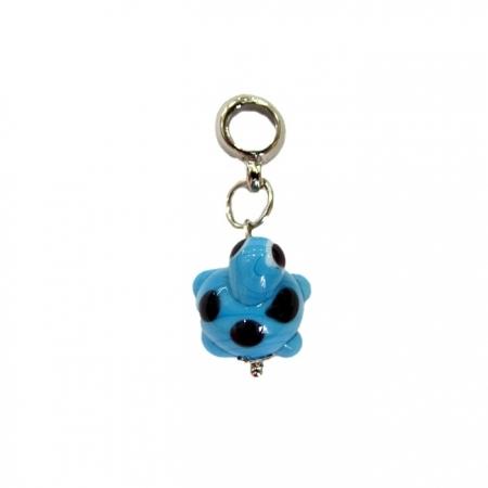 berloque pingente níquel tartaruga de murano azul turquesa- BEN133