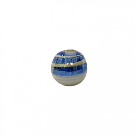 Bola de murano P azulão/ branco irisado (10 unidades)- MU112