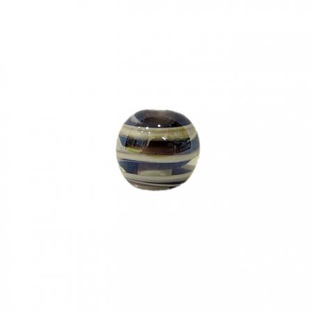 Bola de murano P preto/ branco irisado (10 unidades)- MU127