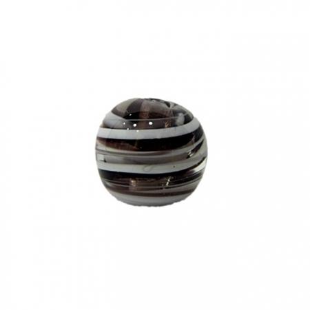 Bola de murano P preto/ branco (10 unidades)- MU128