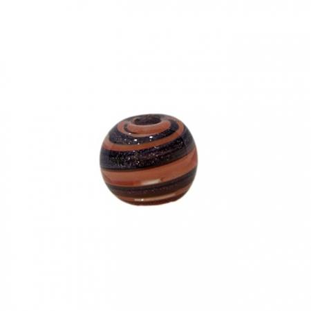 Bola de murano P preto/ salmão (10 unidades)- MU129