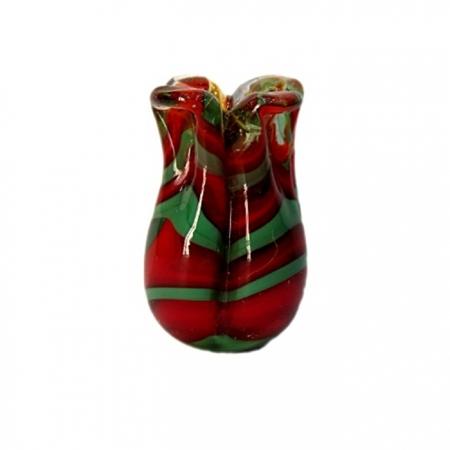 Tulipa de murano vermelho/ verde- MU173