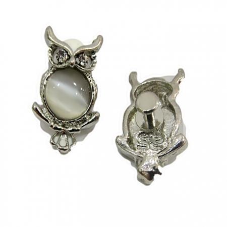 Piercing Coruja barriga olho de gato níquel (Par)- PIN006