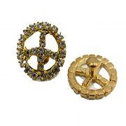 Piercing Paz e amor dourado c/ strass boreal (Par)- PID032