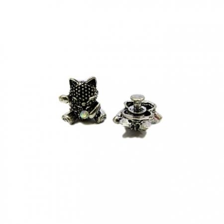 Piercing Gato da sorte níquel envelhecido (Par)- PIN032